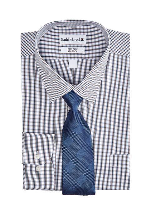 Mens 2 Piece Regular Stretch Check Dress Shirt and Tie Set