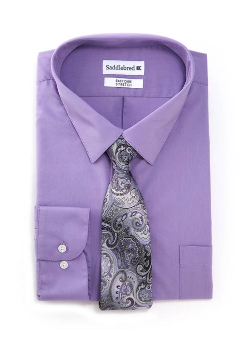 Big & Tall 2 Piece Button Down Shirt and Tie Set