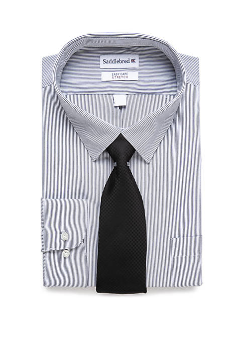 Big & Tall Allover Stretch Dress Shirt and Tie
