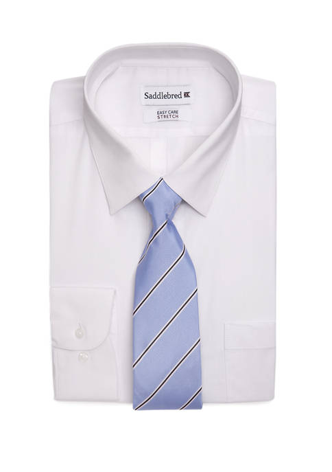 Stretch Solid Point Collared Shirt and Tie Set