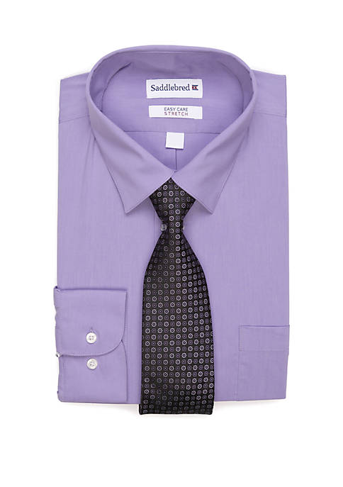 2 Piece Stretch Point Collar Dress Shirt and Tie Set