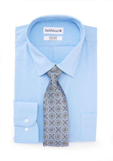 Saddlebred® 2 Piece Stretch Solid Point Dress Shirt