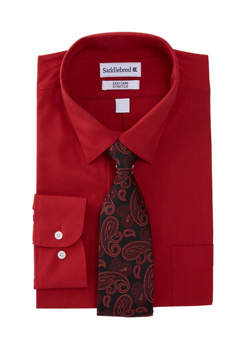 Saddlebred® 2 Piece Solid Dress Shirt and Tie
