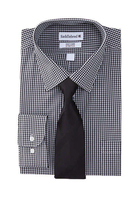 2 Piece Stretch Mini Check Button Down Shirt and Solid Tie Set