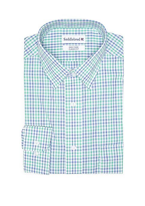 Stretch Collar Blue and Green Check Dress Shirt