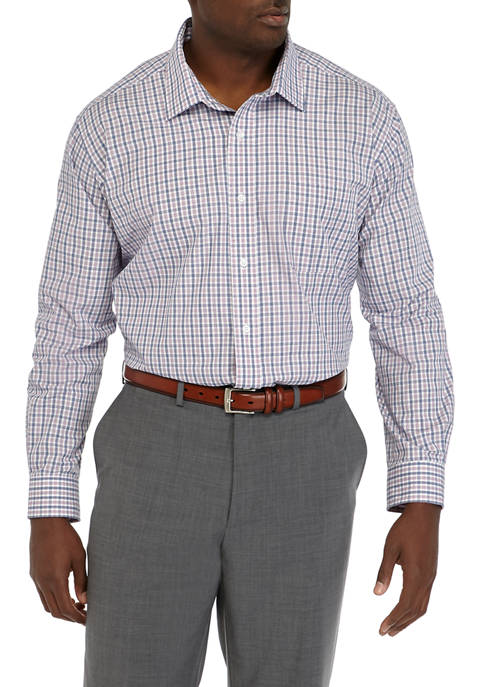 Big & Tall Plaid Stretch Collared Dress Shirt