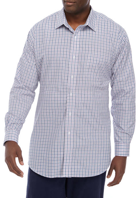 Big & Tall Plaid Stretch Collar Shirt