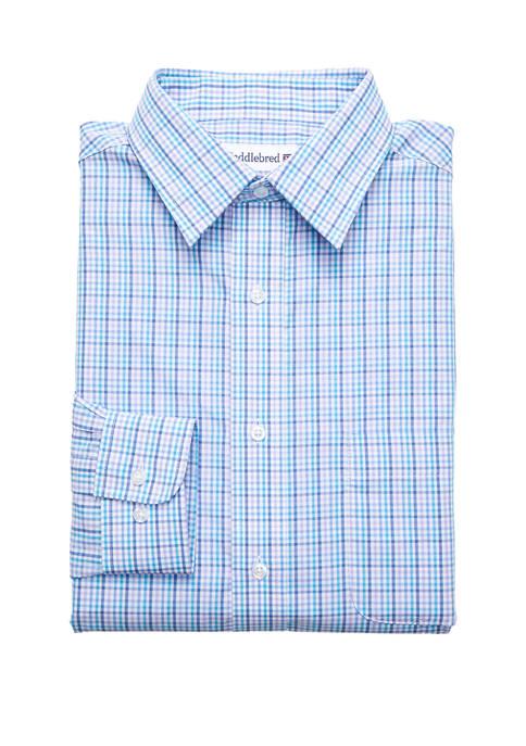 Stretch Collar Check Button Down Dress Shirt