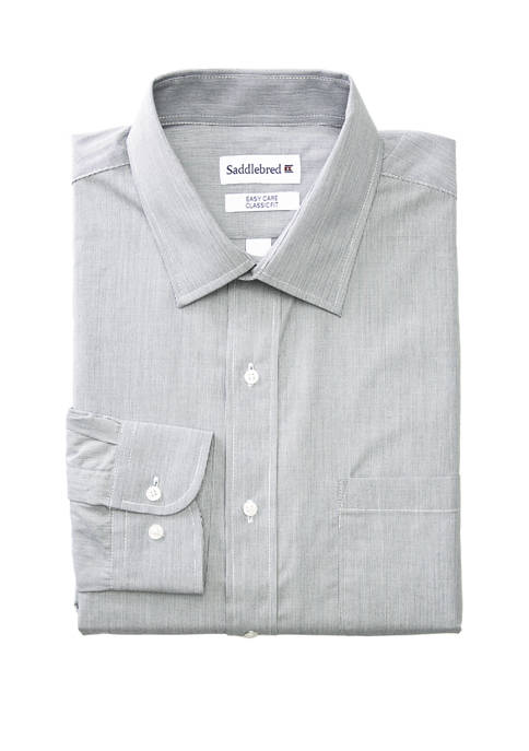 Mens Long Sleeve Stretch Collar Striped Shirt