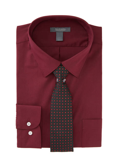 Madison Mens 2 Piece Stretch Solid Dress Shirt