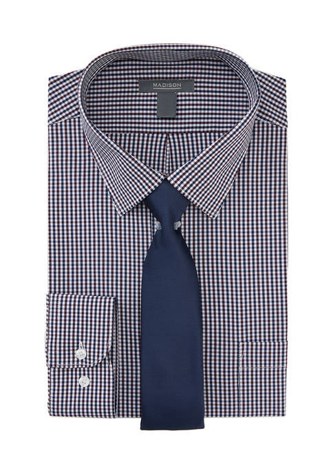 Mens 2 Piece Multi Check Dress Shirt with Tie