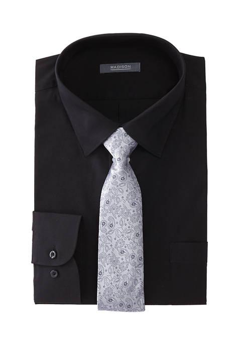 Madison Mens Slim Stretch Dress Shirt and Tie