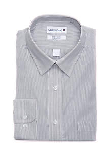 Stretch Spread Collar Mini Stripe Shirt