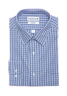 Stretch Collar Plaid Shirt