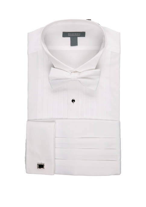 Madison Boxed Slim Wing Tip Tuxedo Shirt Set