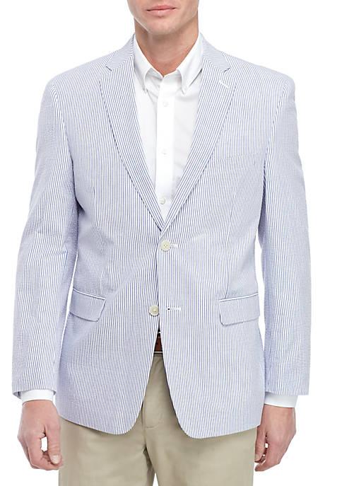 Saddlebred® Big & Tall Blue White Seersucker Sport