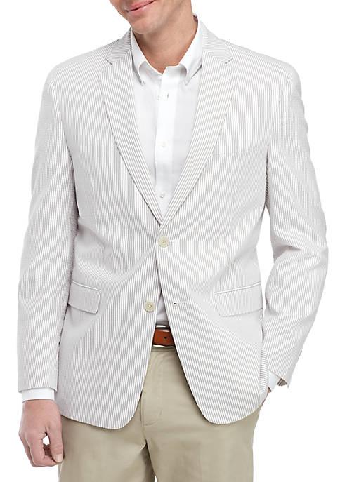 Tan and White Seersucker Sports Coat