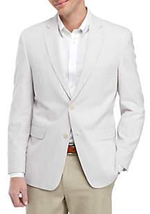 Saddlebred® Tan and White Seersucker Sports Coat