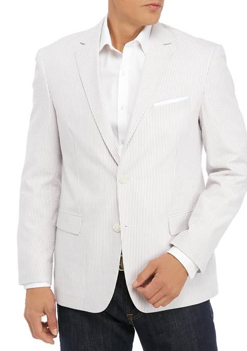 Mens Tan and White Seersucker Sport Coat