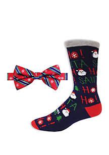 Snowflake Stripe Bow Tie and Socks Set