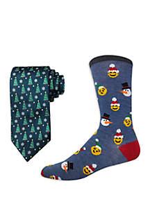 Christmas Tree Bow Tie and Emoji Socks Set