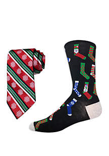 Stripe Bow Tie and Printed Socks Set