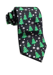 Christmas Tree and Star Print Tie