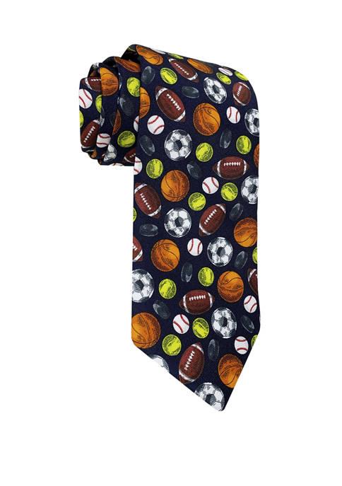 Hallmark Mens Multicolor Sports Balls Necktie