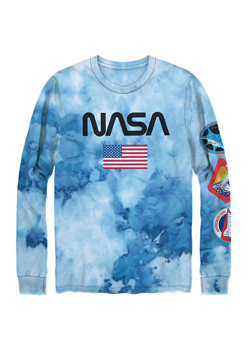NASA Long Sleeve Tie Dyed Cotton Graphic T-Shirt