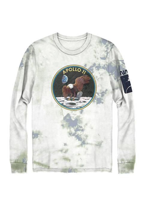 NASA Long Sleeve Tie Dye Graphic T-Shirt