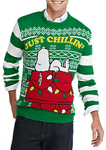 well worn snoopy just chillin christmas sweater