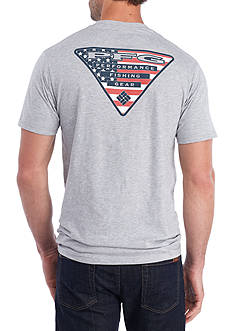 Columbia Short Sleeve PFG® Montrose American Flag Triangle Graphic Tee