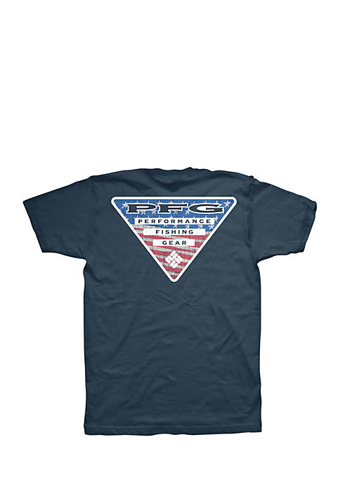 Columbia Short Sleeve PFG Americana Triangle Logo Tee