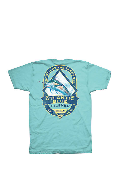 Columbia Short Sleeve PFG Atlantic Blue Tee