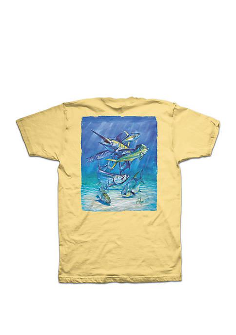 Columbia Short Sleeve Multi Dauria Fish Painting T