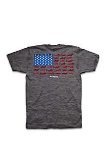 Columbia Big & Tall Frenzy Fish Flag Graphic T Shirt