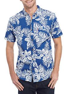 Short Sleeve Blister Woven Button Down Shirt