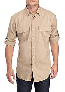 Long Sleeve Solid Utility Shirt
