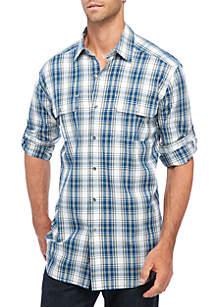 Long Sleeve Plaid Utility Button Down Shirt