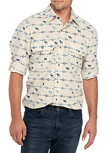 Long Sleeve Printed Utility Shirt