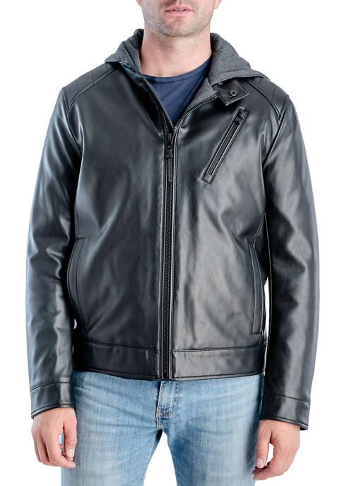Michael Kors Mens Moto Hoodie Faux Leather Jacket