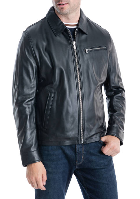 Michael Kors Mens New Leather Hipster Jacket