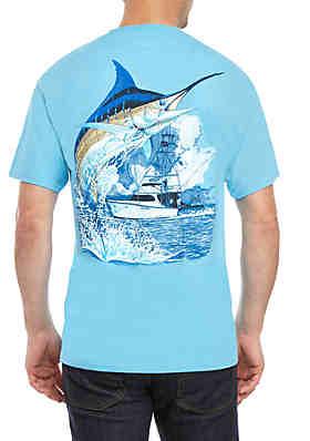 d1735e345 Guy Harvey® Marlin Boat Short Sleeve Graphic Tee ...