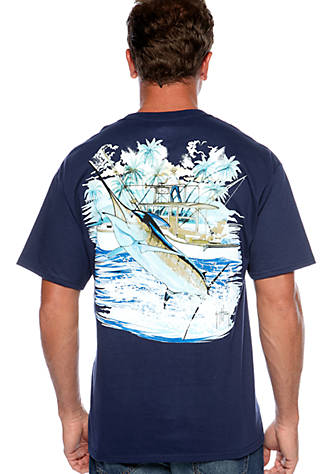 Guy Harvey® Short Sleeve Marlin And Boat 2 Graphic Tee Sale Best Sale QXqBec