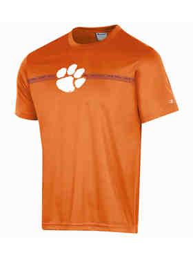 NCAA Clemson Tigers Mens NCAA Mens Short Sleeve Striped Polo Collared Teechampion NCAA Mens Short Sleeve Striped Polo Collared Tee Knights Orange Medium