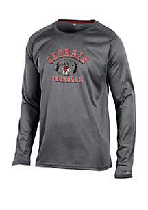Georgia Bulldogs Long Raglan Sleeve Synthetic Crew Neck Tee