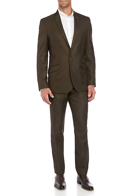 Billy London Brown Sharkskin Shine Suit