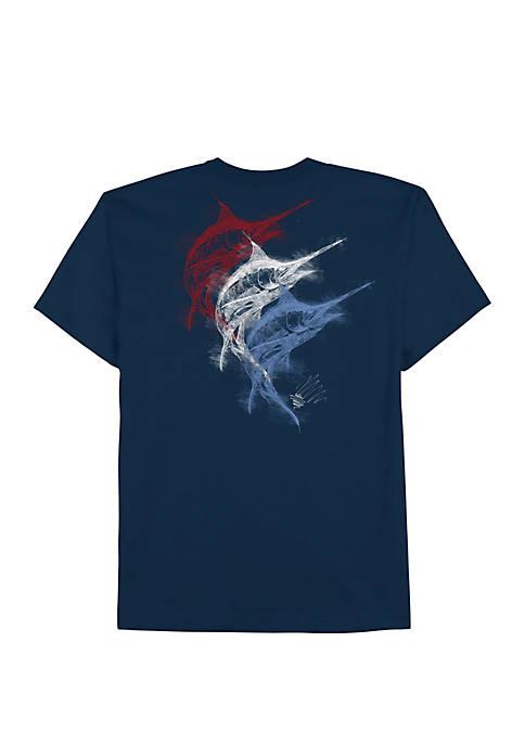 Big & Tall Americana Fish Strokes Graphic T Shirt