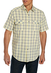 Short Sleeve Plaid Utility Shirt
