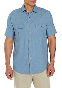 Short Sleeve Solid Utility Shirt